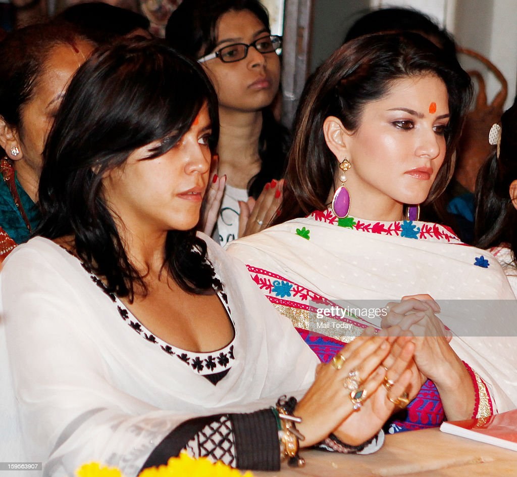 Ragini MMS 2 producer Ekta Kapoor (L) and the Indo Canadian porn star Sunny Leone visited the Siddhivinayak Temple before shooting began on the movie.