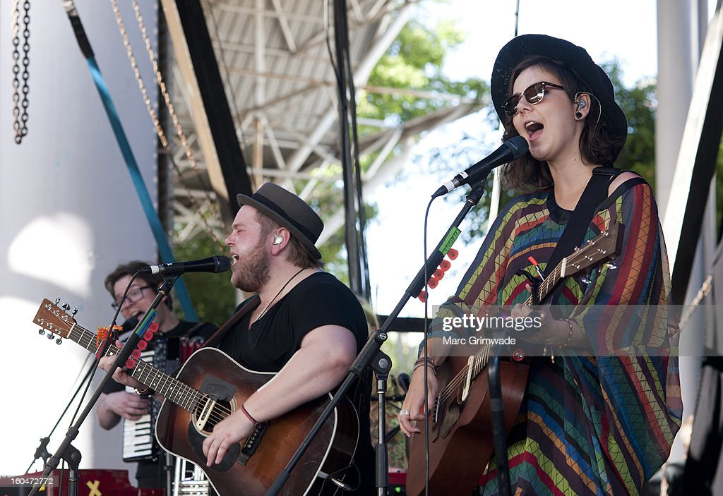 Ragnar borhallsson and Nanna Bryndis Hilmarsdotir from the band Of Monsters and Men perform for fans at St Jerome's Laneway Festival 2013 at the RNA Showgrounds on February 1, 2013 in Brisbane, Australia.