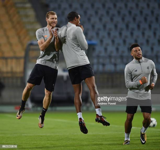 Ragnar Kalavan and Joel Matip of Liverpool during a training session at Stadion Ljudski vrt on October 16 2017 in Maribor Slovenia