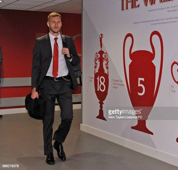 Ragnar Klavan arrives for the Premier League match between Liverpool and Middlesbrough at Anfield on May 21 2017 in Liverpool England