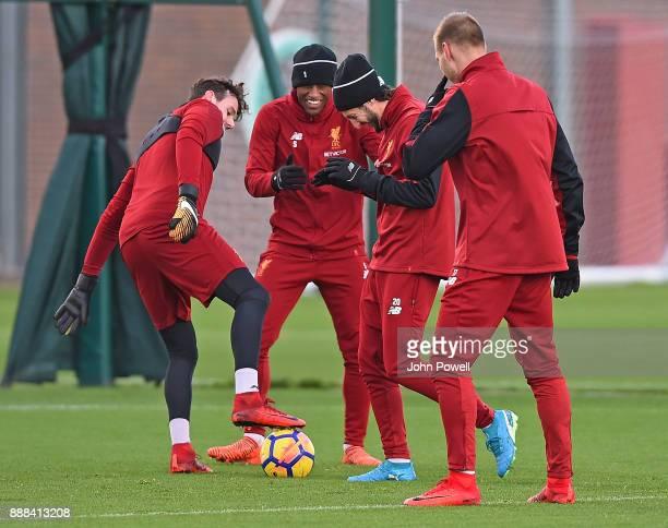 Ragnar Klavan Georginio WijnaldumAdam Lallana and Danny Ward of Liverpool during a training session at Melwood Training Ground on December 8 2017 in...