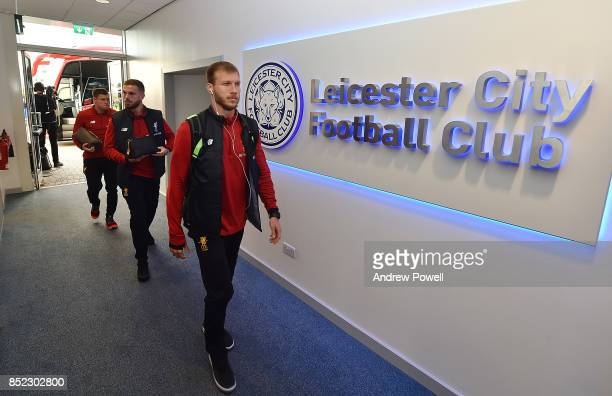 Ragnar Klavan Jordan Henderson and James Milner of Liverpool arrive before the Premier League match between Leicester City and Liverpool at The King...