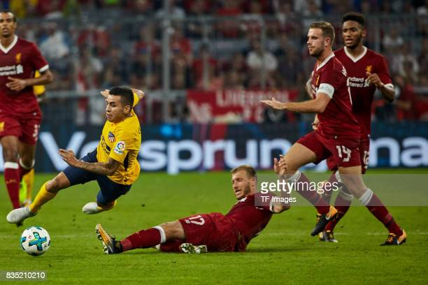 Ragnar Klavan of Liverpool and Angel Correa of Atletico Madrid battle for the ball during the Audi Cup 2017 match between Liverpool FC and Atletico...