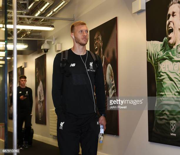 Ragnar Klavan of Liverpool arrives before the Premier League match between West Ham United and Liverpool at London Stadium on May 14 2017 in...