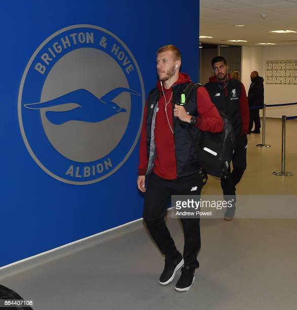Ragnar Klavan of Liverpool arrives before the Premier League match between Brighton and Hove Albion and Liverpool at Amex Stadium on December 2 2017...