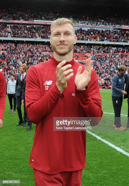 Ragnar Klavan of Liverpool celebrates at the end of the Premier League match between Liverpool and Middlesbrough at Anfield on May 21 2017 in...