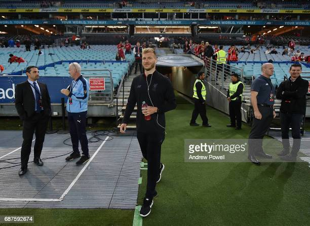 Ragnar Klavan of Liverpool checks out the pitch before the International Friendly match between Sydney FC and Liverpool FC at ANZ Stadium on May 24...