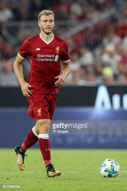 Ragnar Klavan of Liverpool controls the ball during the Audi Cup 2017 match between Liverpool FC and Atletico Madrid at Allianz Arena on August 2...