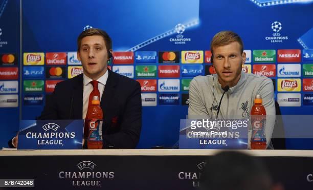 Ragnar Klavan of Liverpool during a Press Conference at the Ramon Sanchez Pizjuan Stadium on November 20 2017 in Seville Spain