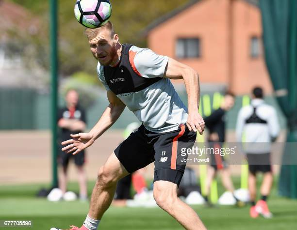 Ragnar Klavan of Liverpool during a training session at Melwood Training Ground on May 3 2017 in Liverpool England