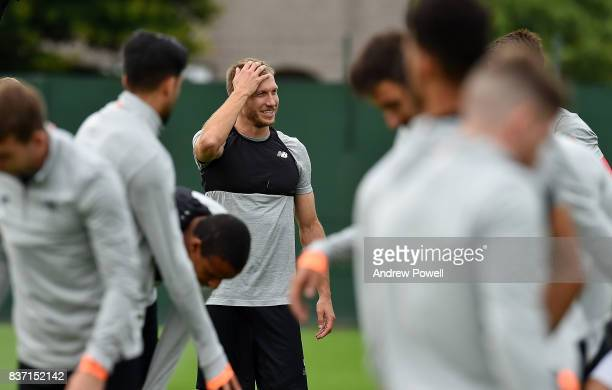 Ragnar Klavan of Liverpool during a training session at Melwood training ground on August 22 2017 in Liverpool England