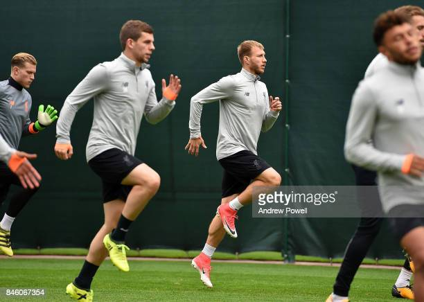 Ragnar Klavan of Liverpool during a training session at Melwood Training Ground on September 12 2017 in Liverpool United Kingdom