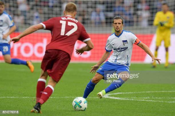 Ragnar Klavan of Liverpool FC and Valentin Stocker of Hertha BSC during the test match between Hertha BSC and Liverpool FC on july 29 2017 in Berlin...
