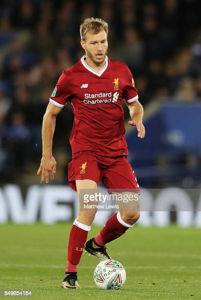 Ragnar Klavan of Liverpool in action during the Carabao Cup Third Round match between Leicester City and Liverpool at The King Power Stadium on...