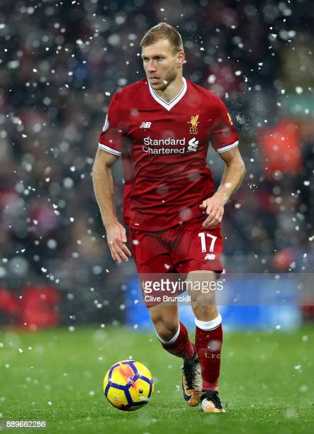 Ragnar Klavan of Liverpool in action during the Premier League match between Liverpool and Everton at Anfield on December 10 2017 in Liverpool England