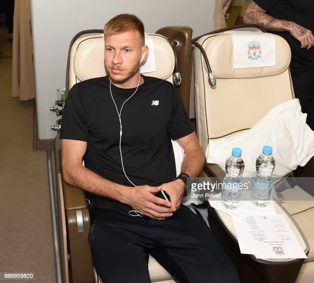 Ragnar Klavan of Liverpool on the plane to Australia at Melwood Training Ground on May 22 2017 in Liverpool England