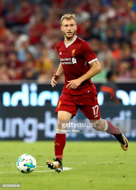 Ragnar Klavan of Liverpool runs with the ball during the Audi Cup 2017 match between Liverpool FC and Atletico Madrid at Allianz Arena on August 2...