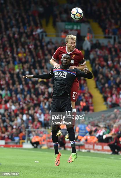 Ragnar Klavan of Liverpool with Christian Benteke of Crystal Palace during the Premier League match between Liverpool and Crystal Palace at Anfield...