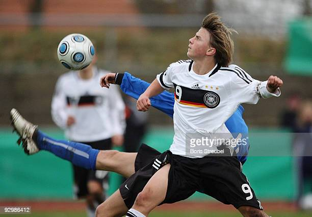 Ragnar Piir of Estland and Lukas Goettmann of Germany battle for the ball during the U15 International Friendly Match between Germany and Estland at...
