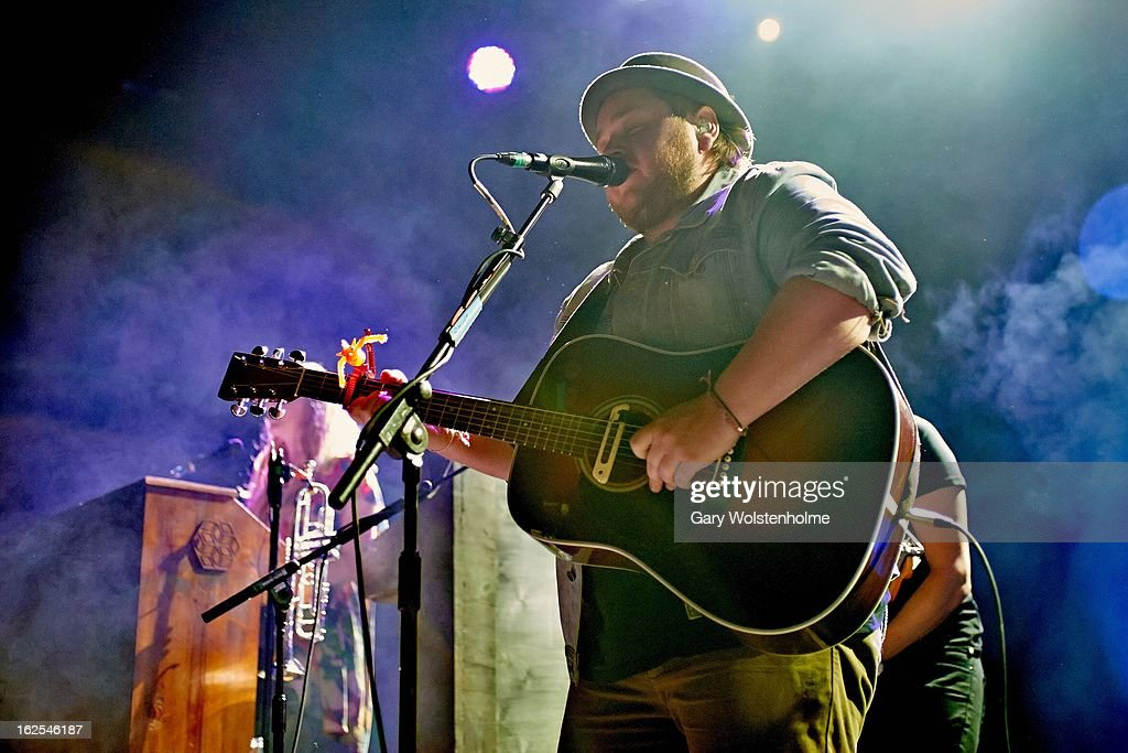 Ragnar Porhallsson of Of Monsters and Men perform on stage at Manchester Academy on February 24, 2013 in Manchester, England.