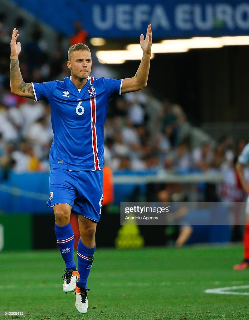 Ragnar Sigurdsson (6) of Iceland celebrates after scoring a goal during the UEFA Euro 2016 Round of 16 football match between Iceland and England at Stade de Nice in Nice, France on June 27, 2016.