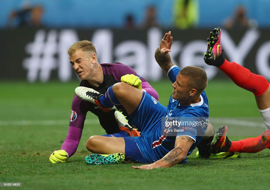Ragnar Sigurdsson of Iceland scores his team's first goal during the UEFA EURO 2016 round of 16 match between England and Iceland at Allianz Riviera Stadium on June 27, 2016 in Nice, France.
