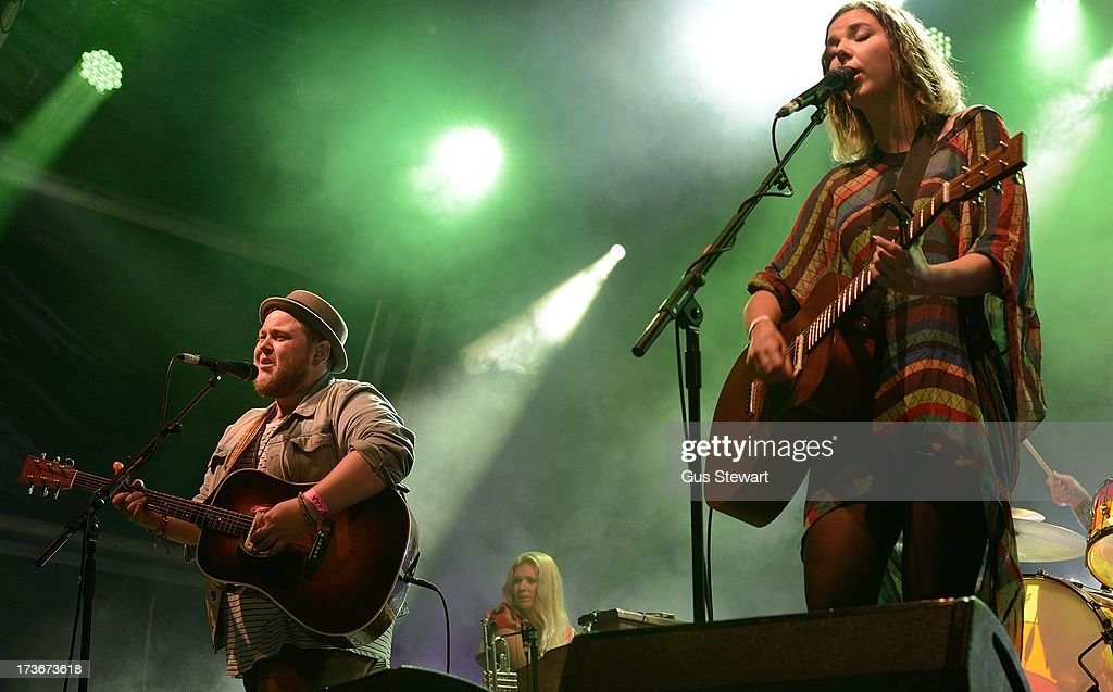 Ragnar Thorhalisson and Nanna Bryndis of Of Monsters And Men perform on stage as part of the annual Summer Series of open-air concerts at Somerset House on July 16, 2013 in London, England.