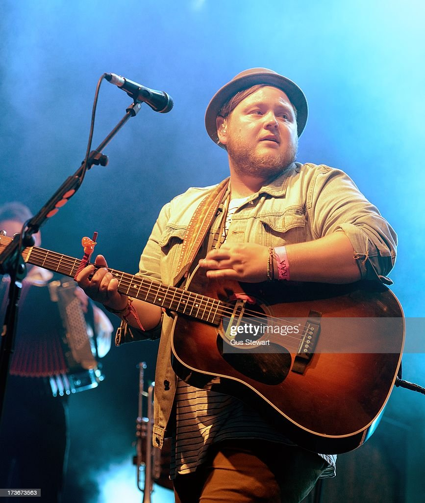 Ragnar Thorhalisson of Of Monsters And Men performs on stage as part of the annual Summer Series of open-air concerts at Somerset House on July 16, 2013 in London, England.