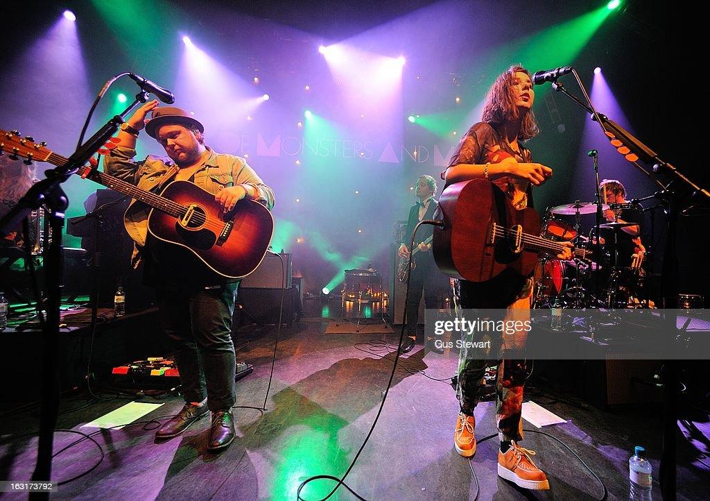 Ragnar Thorhallsson, Kristjan P Kristjansson, Nanna Bryndis Hilmarsdottir and Arnar R Hilmarsson of Of Monsters and Men perform on stage at O2 Shepherd's Bush Empire on March 5, 2013 in London, England.