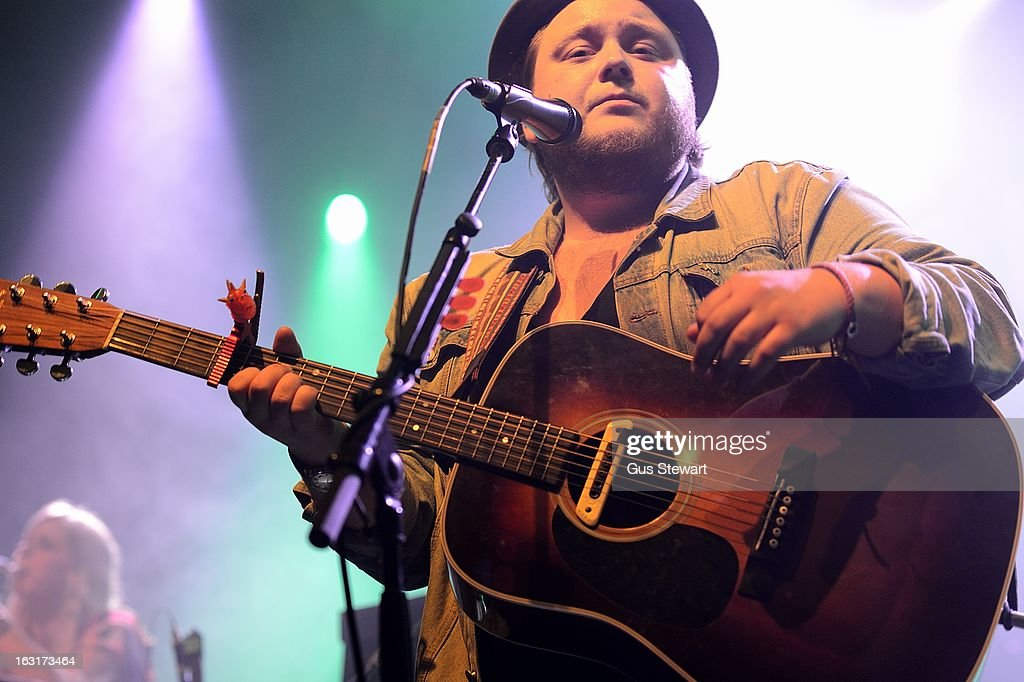 Ragnar Thorhallsson of Of Monsters and Men performs on stage at O2 Shepherd's Bush Empire on March 5, 2013 in London, England.
