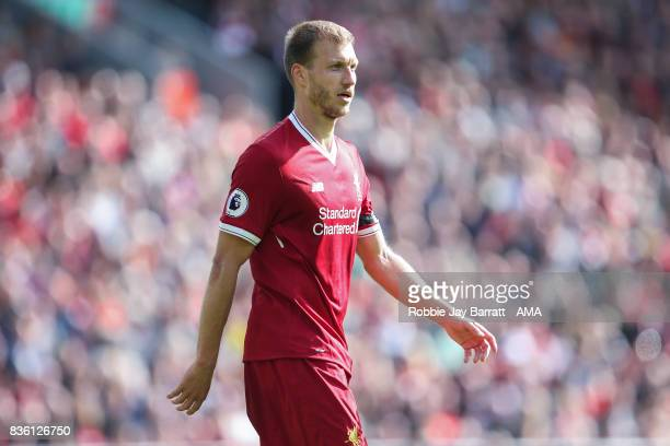 Ragner Klavan of Liverpool during the Premier League match between Liverpool and Crystal Palace at Anfield on August 19 2017 in Liverpool England