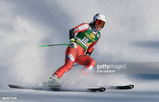 Ragnhild Mowinckel of Norway slides to a 15th place finish during the FIS Ski World Cup Women's Super G on December 3 2017 in Lake Louise Canada /...