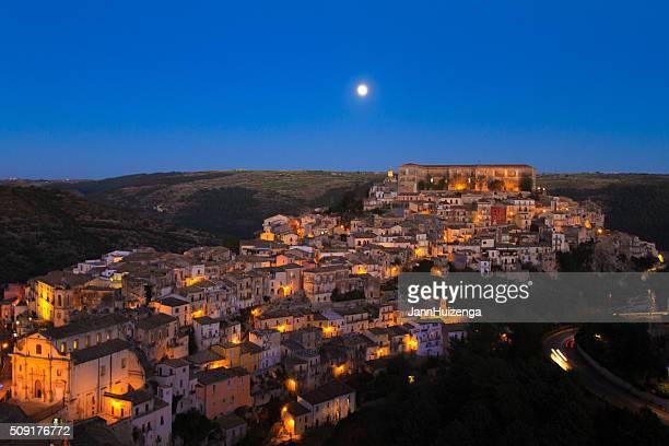 Ragusa Ibla, Sicily: Panorama at Dusk, Full Moon, Purple Sky