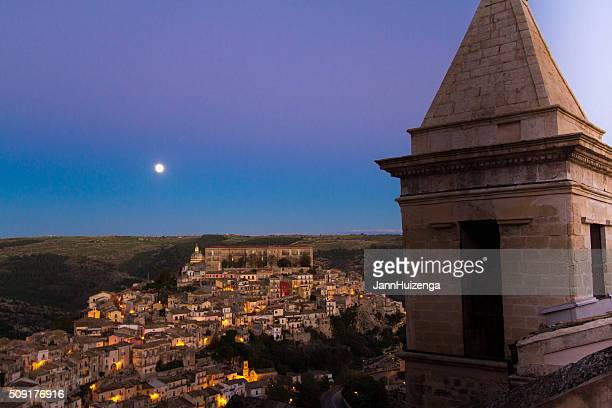 Ragusa Ibla, Sicily: Panorama at Dusk, Full Moon, Purple Sky