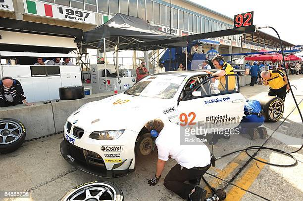 Rahal Letterman Racing crew works on the BMW M3 GT2 during American Le Mans Series Winter Testing at Sebring International Raceway on January 28 2009...