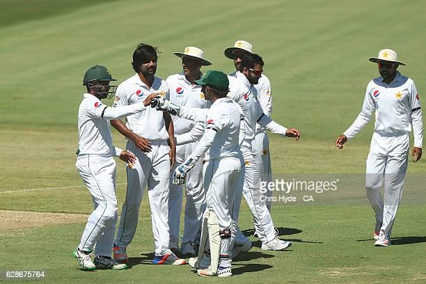 Rahat Ali of Pakistan celebrates after dismissing Arjun Nair of Cricket Australia XI during the tour match between Cricket Australia XI and Pakistan...