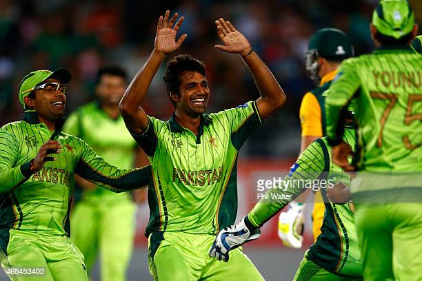 Rahat Ali of Pakistan celebrates his wicket of David Miller of South Africa during the 2015 ICC Cricket World Cup match between South Africa and...
