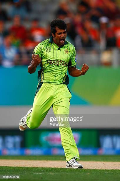 Rahat Ali of Pakistan celebrates his wicket of Faf du Plessis of South Africa during the 2015 ICC Cricket World Cup match between South Africa and...