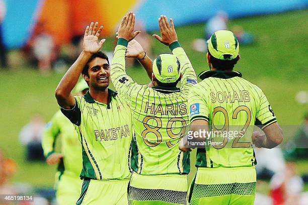 Rahat Ali of Pakistan celebrates the wicket of Amjad Ali of the United Arab Emirates during the 2015 ICC Cricket World Cup match between Pakistan and...
