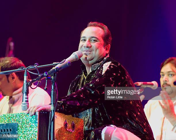 Rahat Fateh Ali Khan performs on stage at O2 Arena on August 25 2013 in London England