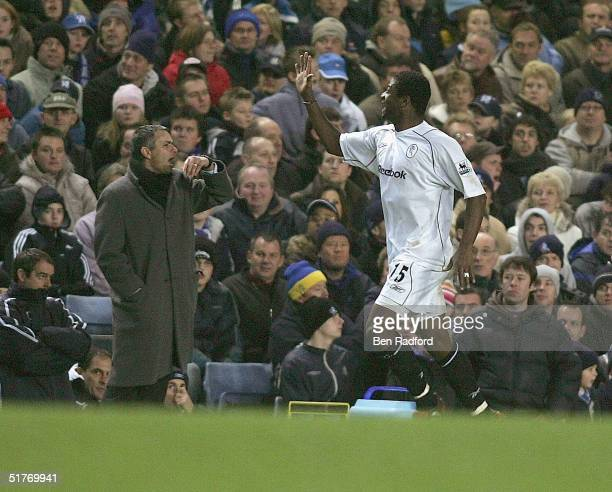 Rahdi Jaidi of Bolton celebrates as he runs past an angry Chelsea Manager Jose Mourinho during the Barclays Premiership match between Chelsea and...