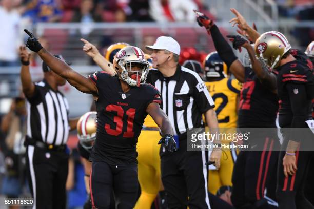 Raheem Mostert of the San Francisco 49ers reacts after a turnover by the Los Angeles Rams during their NFL game at Levi's Stadium on September 21...