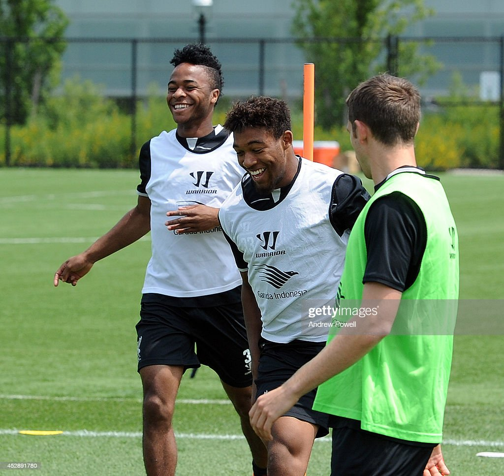 Raheem Sterling and Jordon Ibe of Liverpool in action during a training session at Princeton University on July 29, 2014 in Princeton, New Jersey.