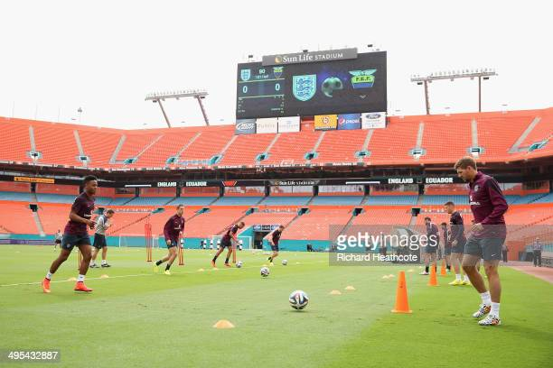 Raheem Sterling and Steven Gerrard in action during an England training session at The Sunlife Stadium on June 3 2014 in Miami Florida England are in...
