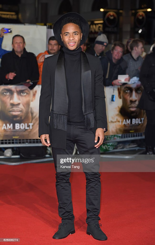 Raheem Sterling attends the World Premiere of 'I Am Bolt' at Odeon Leicester Square on November 28, 2016 in London, England.