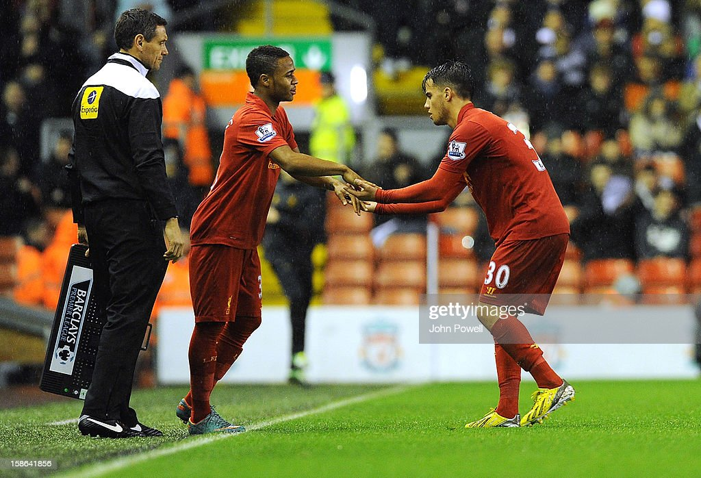 <a gi-track='captionPersonalityLinkClicked' href=/galleries/search?phrase=Raheem+Sterling&family=editorial&specificpeople=6489439 ng-click='$event.stopPropagation()'>Raheem Sterling</a> comes on for Suso both of Liverpool during the Barclays Premier League match between liverpool and Fulham at Anfield on December 22, 2012 in Liverpool, England.