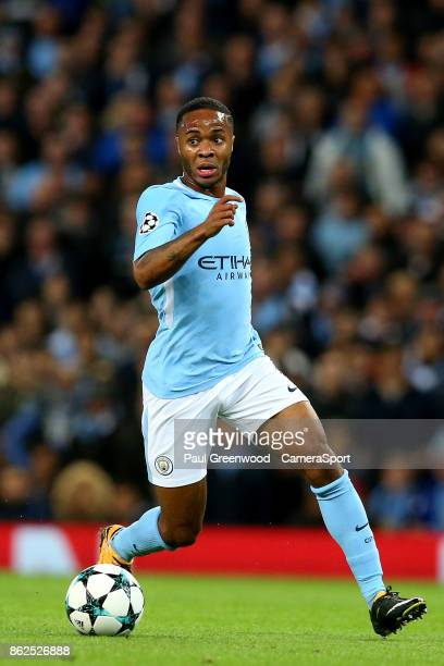 Raheem Sterling during the UEFA Champions League group F match between Manchester City and SSC Napoli at Etihad Stadium on October 17 2017 in...