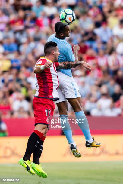 07 Raheem Sterling from England of Manchester City defended by 11 Aday from Spain of Girona FC during the Costa Brava Trophy match between Girona FC...