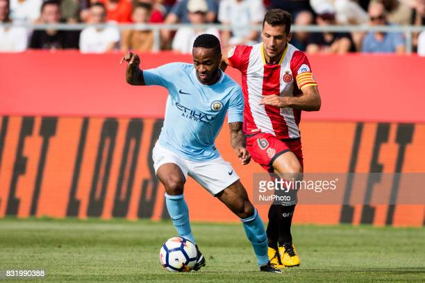 07 Raheem Sterling from England of Manchester City defensed by 06 Granell from Spain of Girona FC during the Costa Brava Trophy match between Girona...