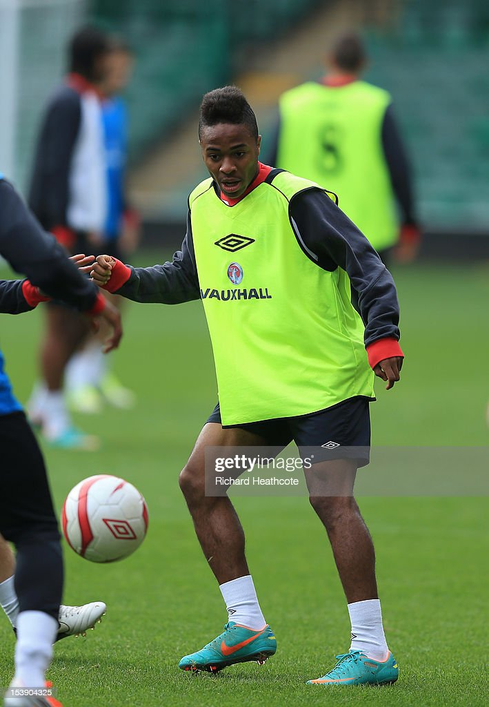 <a gi-track='captionPersonalityLinkClicked' href=/galleries/search?phrase=Raheem+Sterling&family=editorial&specificpeople=6489439 ng-click='$event.stopPropagation()'>Raheem Sterling</a> in action during the England U21 training session at Carrow Road on October 11, 2012 in Norwich, England. England's U21 team will play Serbia U21 in the first leg of the U21 European Championship play-off's at Carrow Road tomorrow night.
